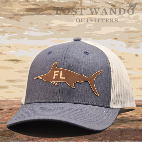 Florida Marlin Leather Patch Hat - Heather Navy-Light Grey Richardson 115 - Lost Wando Outfitters