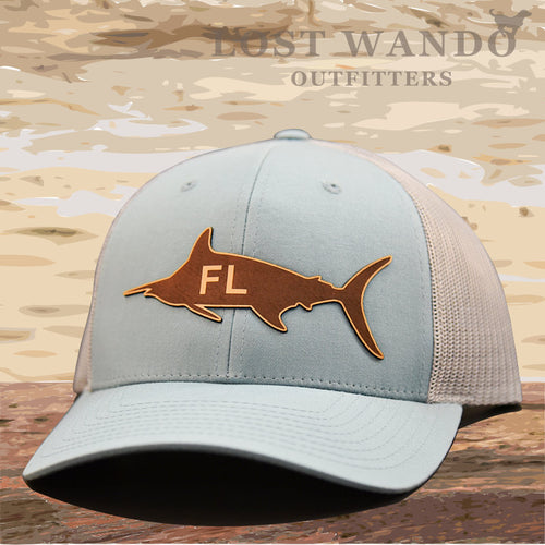 Florida Marlin Leather Patch Hat - Smoke Blue - Aluminum Richardson 115 - Lost Wando Outfitters