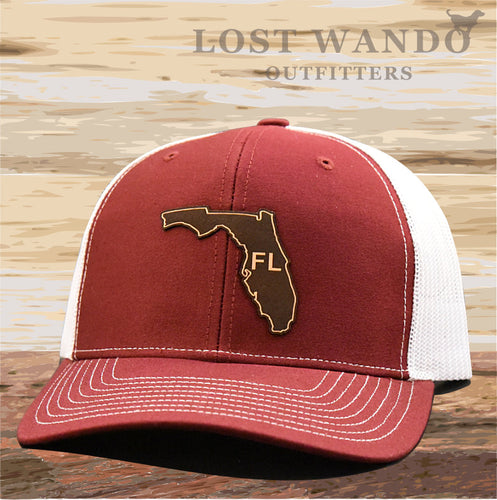 Florida State Outline Etched Leather Patch Hat -Cardinal-White Richardson 112 - Lost Wando Outfitters