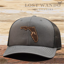 Load image into Gallery viewer, Florida State Outline Etched Leather Patch Hat -Charcoal-Black Richardson 112 - Lost Wando Outfitters