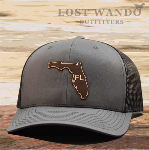 Florida State Outline Etched Leather Patch Hat -Charcoal-Black Richardson 112 - Lost Wando Outfitters