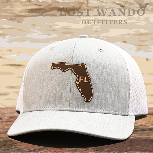 Florida State Outline Etched Leather Patch Hat -Heather Grey-White Richardson 112 - Lost Wando Outfitters