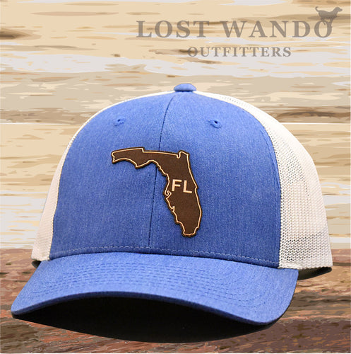 Florida State Outline Etched Leather Patch Hat -Royal-Light Grey Richardson 115 - Lost Wando Outfitters