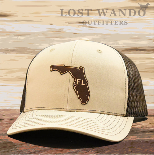 Florida State Outline Etched Leather Patch Hat -Khaki-Brown Richardson 112 - Lost Wando Outfitters