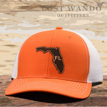 Load image into Gallery viewer, Florida State Outline Etched Leather Patch Hat -Orange-White Richardson 112 - Lost Wando Outfitters