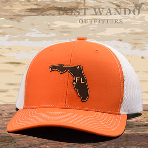 Florida State Outline Etched Leather Patch Hat -Orange-White Richardson 112 - Lost Wando Outfitters