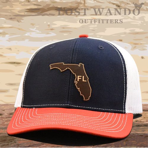 Florida State Outline Etched Leather Patch Hat -Navy-White-Red Richardson 112 - Lost Wando Outfitters
