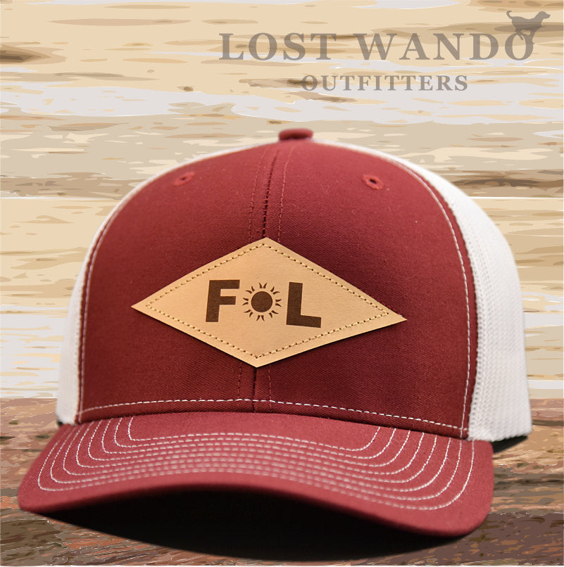 Florida Diamond Leather Patch Hat - Cardinal-White Richardson 112 - Lost Wando Outfitters
