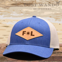 Load image into Gallery viewer, Florida Diamond Leather Patch Hat - Royal Blue- Light Grey Richardson 115 - Lost Wando Outfitters