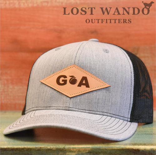 GA Diamond Leather Patch Hat - Heather Grey-Black Richardson 112 - Lost Wando Outfitters