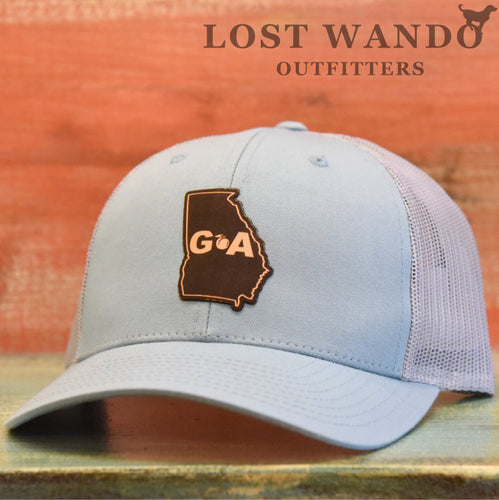 Georgia Outline Leather Patch Hat - Smoke Blue- Aluminum Richardson 115 - Lost Wando Outfitters