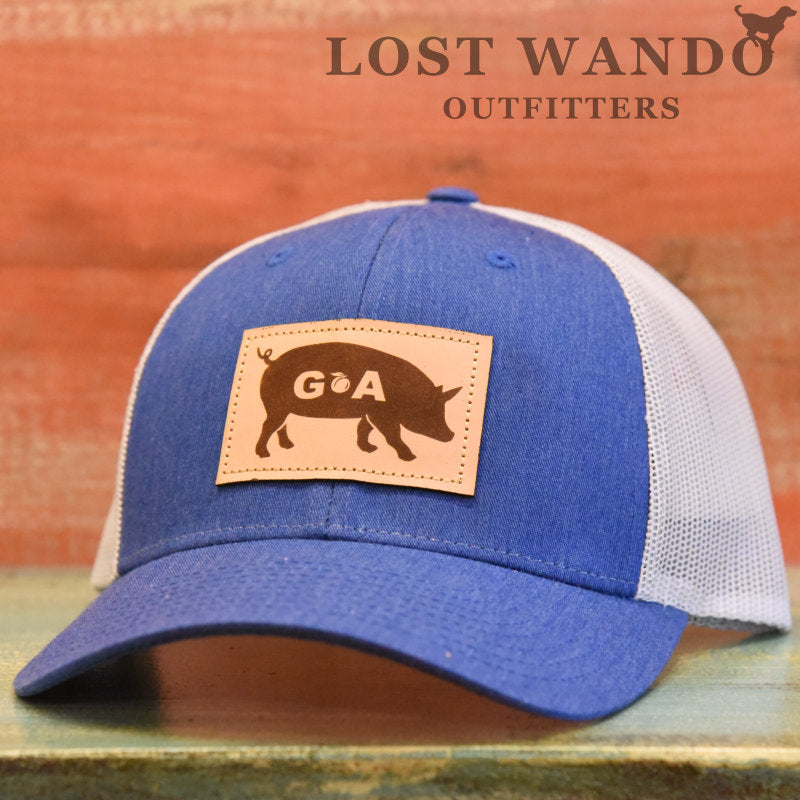 GA Pig Leather Patch Hat - Royal- Light Grey Richardson 115 - Lost Wando Outfitters