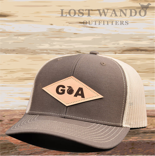 GA Diamond Leather Patch Hat - Brown-Khaki Lost Wando - Lost Wando Outfitters