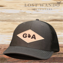 Load image into Gallery viewer, GA Diamond Leather Patch Hat - Charcoal-Black Lost Wando - Lost Wando Outfitters