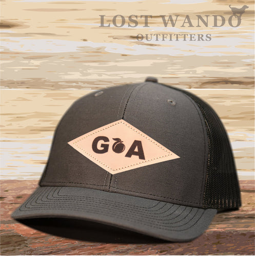 GA Diamond Leather Patch Hat - Charcoal-Black Lost Wando - Lost Wando Outfitters