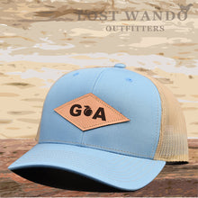 Load image into Gallery viewer, GA Diamond Leather Patch Hat - Columbia Blue/Khaki  Lost Wando - Lost Wando Outfitters