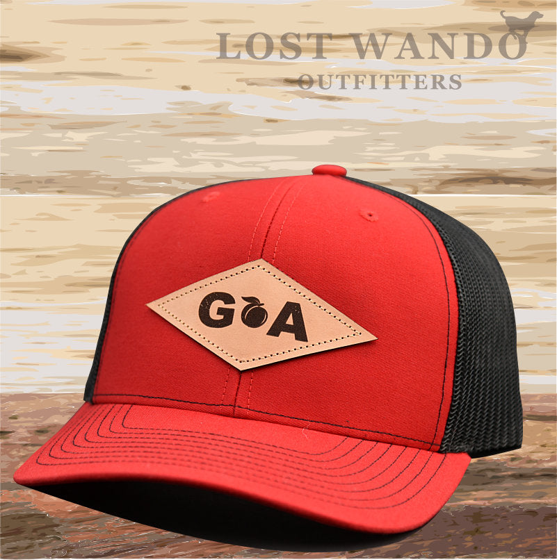 GA Diamond Leather Patch Hat - Red-Black  Lost Wando - Lost Wando Outfitters