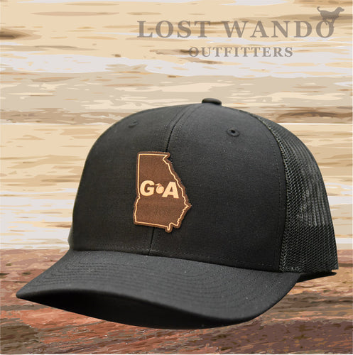 Georgia Outline Leather Patch Hat - Black-Black Lost Wando Outfitters - Lost Wando Outfitters