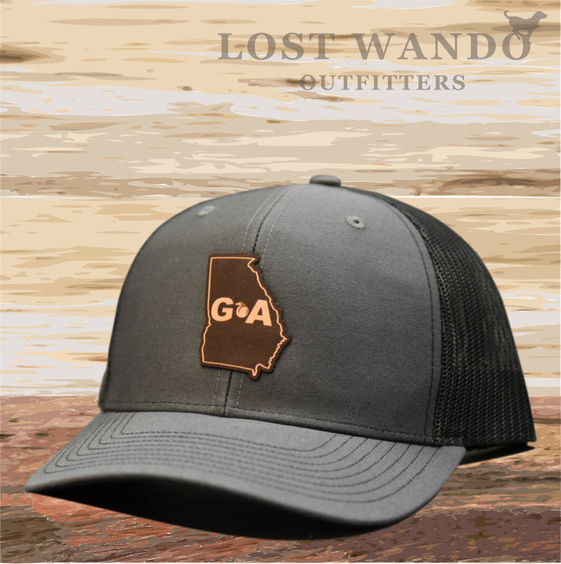 Georgia Outline Leather Patch Hat - Charcoal-Black  Lost Wando Outfitters - Lost Wando Outfitters