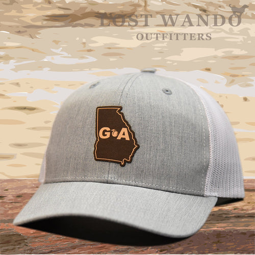Georgia Outline Leather Patch Hat - Heather Grey - White  Lost Wando Outfitters - Lost Wando Outfitters