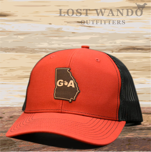 Georgia Outline Leather Patch Hat - Red-Black  Lost Wando Outfitters - Lost Wando Outfitters