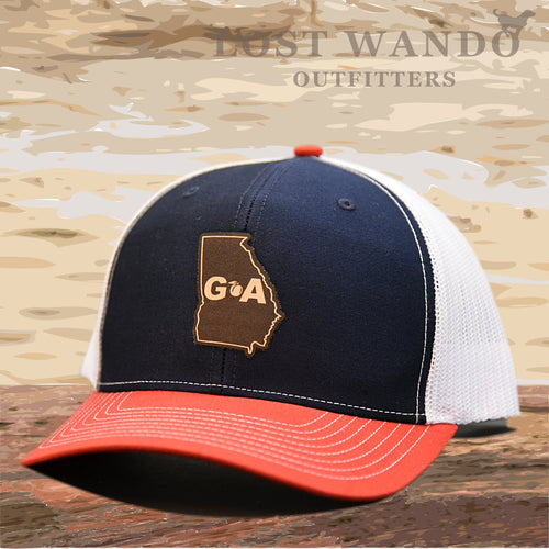 Georgia Outline Leather Patch Hat - Navy-White-Red  Lost Wando Outfitters - Lost Wando Outfitters
