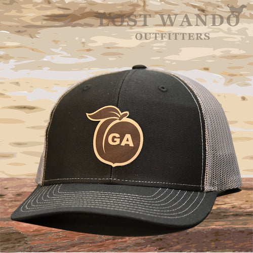 Georgia Peach Leather Patch Hat - Black-Charcoal  Lost Wando - Lost Wando Outfitters