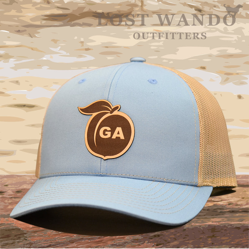 Georgia Peach Leather Patch Hat - Columbia Blue/Khaki  Lost Wando - Lost Wando Outfitters