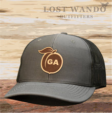 Load image into Gallery viewer, Georgia Peach Leather Patch Hat - Charcoal-Black  Lost Wando - Lost Wando Outfitters