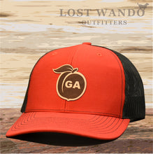 Load image into Gallery viewer, Georgia Peach Leather Patch Hat - Red-Black  Lost Wando - Lost Wando Outfitters