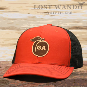 Georgia Peach Leather Patch Hat - Red-Black  Lost Wando - Lost Wando Outfitters