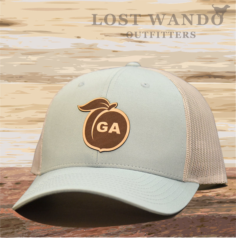Georgia Peach Leather Patch Hat - Smoke Blue-Aluminum  Lost Wando - Lost Wando Outfitters
