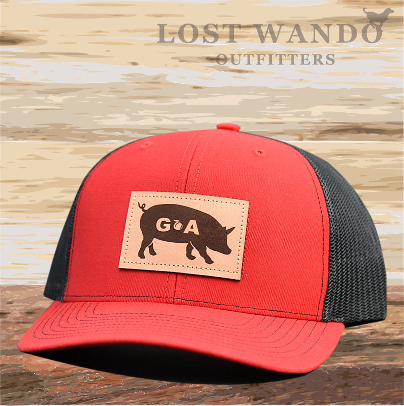 GA Pig Leather Patch Hat - Red-Black  Lost Wando - Lost Wando Outfitters