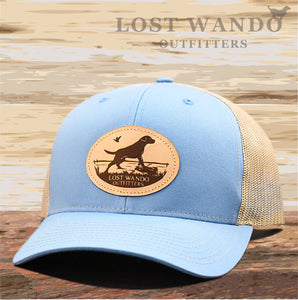Marsh Lab Leather Patch Hat Columbia Blue-Khaki - Lost Wando Outfitters
