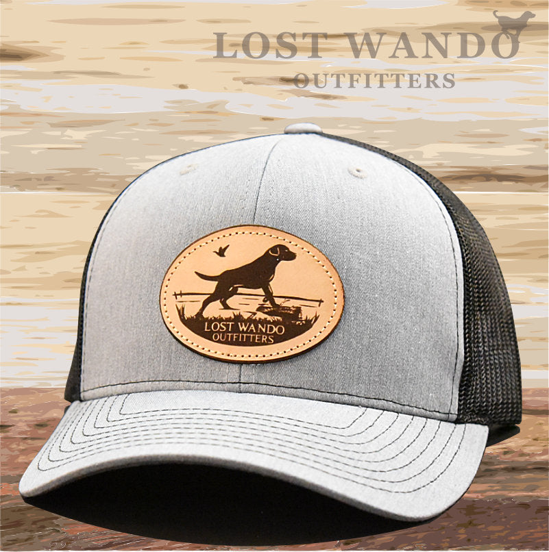 Marsh Lab Leather Patch Hat Heather Grey-Black - Lost Wando Outfitters