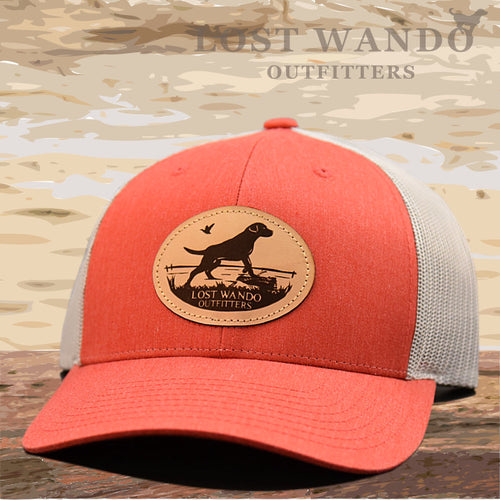 Marsh Lab Leather Patch Hat Heather Red - Grey - Lost Wando Outfitters