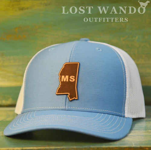 Mississippi State Outline Etched Leather Patch Hat-Columbia Blue-White on Richardson 112