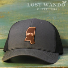 Load image into Gallery viewer, Mississippi State Outline Etched Leather Patch Hat-Charcoal-Black on Richardson 112