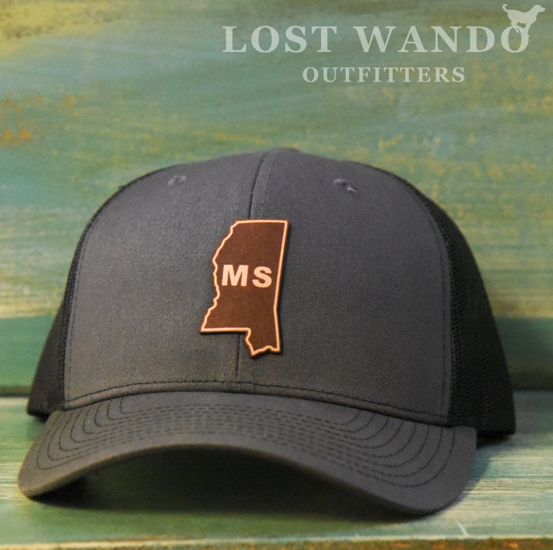 Mississippi State Outline Etched Leather Patch Hat-Charcoal-Black on Richardson 112