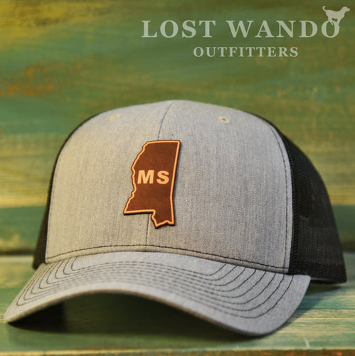 Mississippi State Outline Etched Leather Patch Hat-Heather Grey-Black on Richardson 112