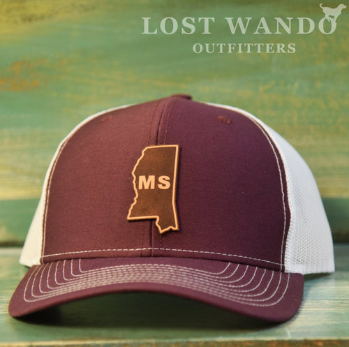Mississippi State Outline Etched Leather Patch Hat-Maroon-White on Richardson 112