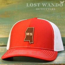Load image into Gallery viewer, Mississippi State Outline Etched Leather Patch Hat-Red-White on Richardson 112