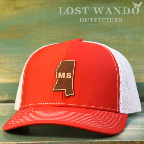Mississippi State Outline Etched Leather Patch Hat-Red-White on Richardson 112