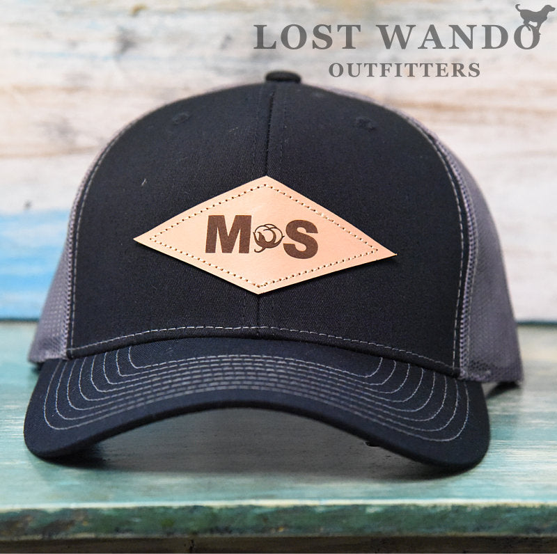 Mississippi Cotton Diamond Leather Patch Hat-Black-Charcoal on Richardson 112 Lost Wando Outfitters