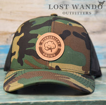 Load image into Gallery viewer, Mississippi Grown Cotton Leather Patch Hat-Camo-Black on Richardson 112P Lost Wando Outfitters