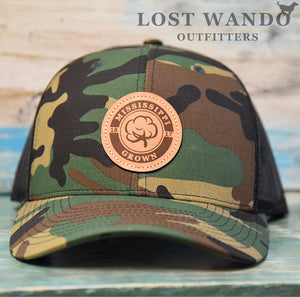 Mississippi Grown Cotton Leather Patch Hat-Camo-Black on Richardson 112P Lost Wando Outfitters
