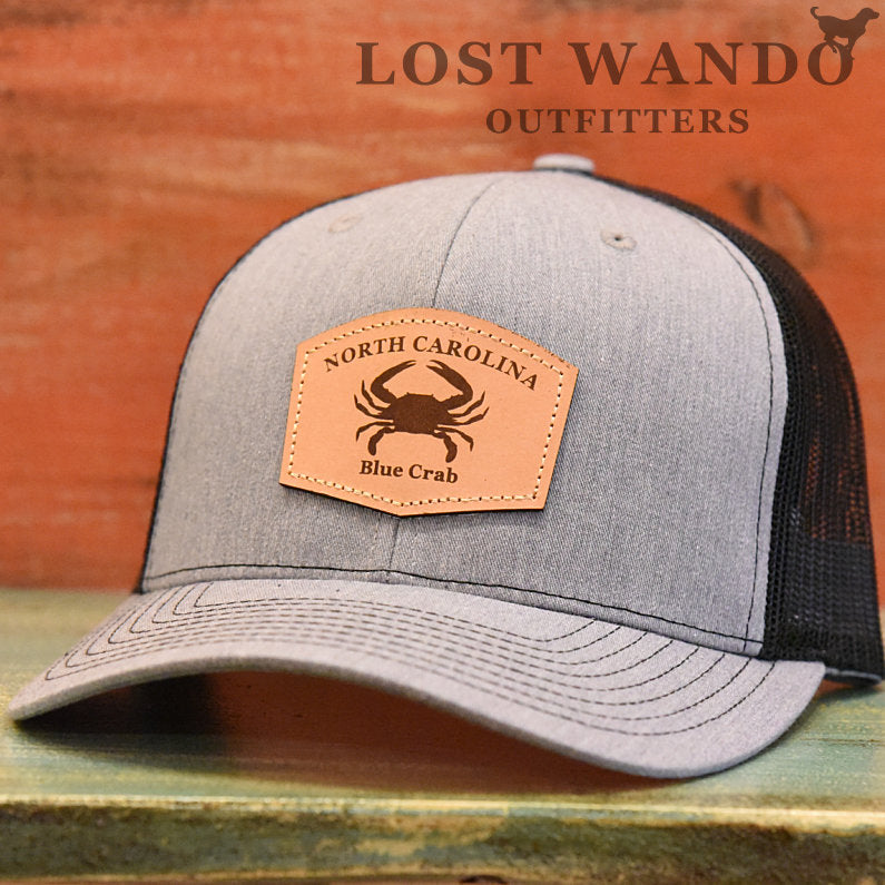 North Carolina Blue Crab Leather Patch Hat- Heather Grey-Black Richardson 112 - Lost Wando Outfitters