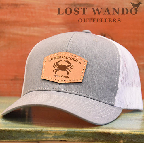 North Carolina Blue Crab Leather Patch Hat- Heather Grey-White Richardson 112 - Lost Wando Outfitters