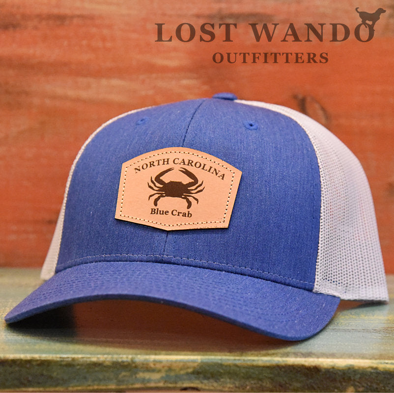 North Carolina Blue Crab Leather Patch Hat- Royal Heather-Light Grey Richardson 115 - Lost Wando Outfitters