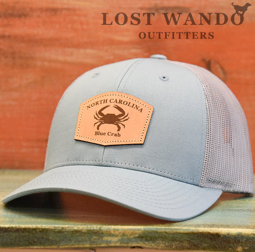 North Carolina Blue Crab Leather Patch Hat- Smoke Blue Aluminum Richardson 115 - Lost Wando Outfitters